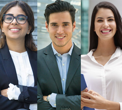 Composite of young diverse business people
