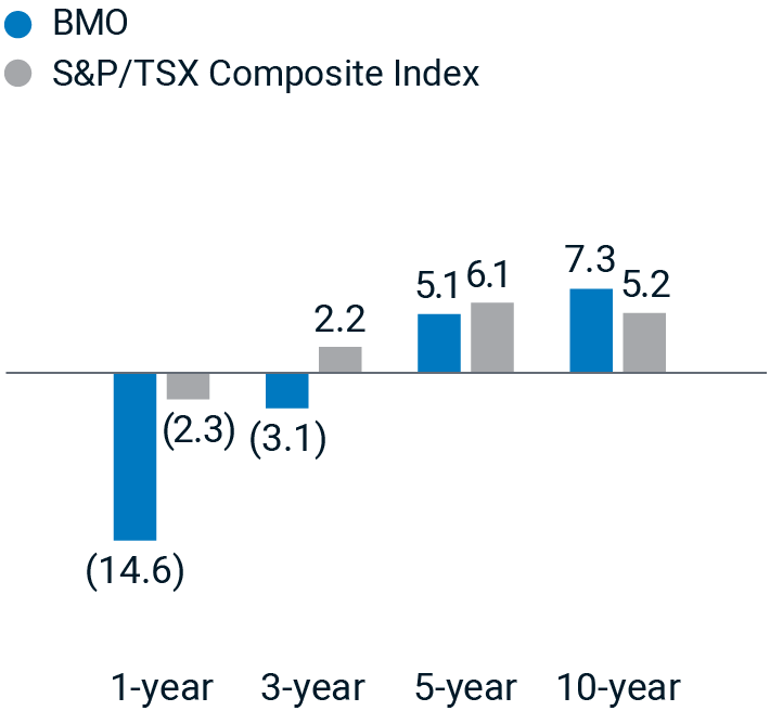 BMO 1-year: -14.6; S&P/TXS Composite Index 1-year: -2.3; BMO 3-year: -3.1; S&P/TXS Composite Index 3-year: 2.2; BMO 5-year: 5.1; S&P/TXS Composite Index 5-year: 6.1; BMO 10-year: 7.3; S&P/TXS Composite Index 10-year: 5.2.